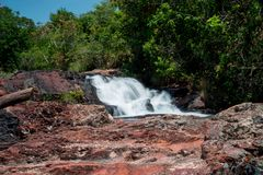 Indaia Waterfall. Also known as Chachoeiro do Indaia in the Heart of the Savannas of Brazil in the State of Goias Royalty Free Stock Photography