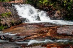 Indaia Waterfall. Also known as Chachoeiro do Indaia in the Heart of the Savannas of Brazil in the State of Goias Royalty Free Stock Photo