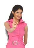 Indain Frau, die ihren Finger zeigt Lizenzfreies Stockfoto