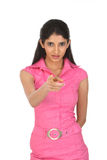 Indain  woman pointing her finger Royalty Free Stock Photos
