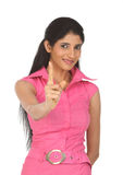 Indain  woman pointing her finger Royalty Free Stock Photo
