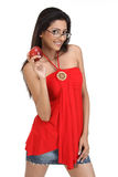 Indan girl with apple and specs Royalty Free Stock Images