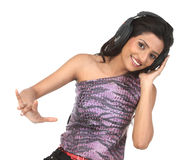 Indan  teenage girl with the head phones Stock Photos