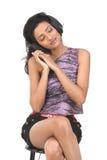 Indan  teenage girl with the head phones Stock Photos