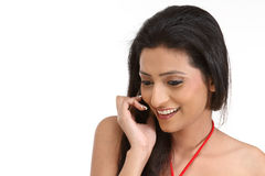 Indan woman with cell phone Royalty Free Stock Photo