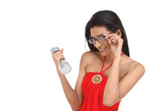 Indan woman with dumbbell and specs Stock Photography