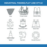 Indastrial fishing flat line style. In  format eps10 Royalty Free Stock Photos