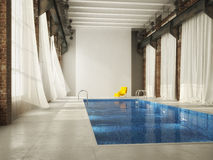 Inddor swiming pool in a loft. 3d rendering Stock Images