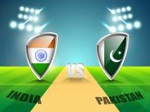 Inde contre le concept de match de cricket du Pakistan Images libres de droits