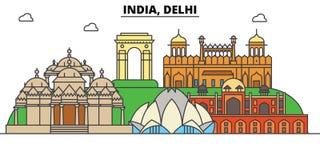 Inde, Delhi, hindouisme Horizon de ville, architecture, bâtiments, rues, silhouette, paysage, panorama, points de repère illustration de vecteur