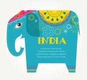 Inde - fond avec l'éléphant modelé Image libre de droits