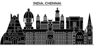 Inde, horizon urbain d'architecture de Chennai avec des points de repère illustration stock