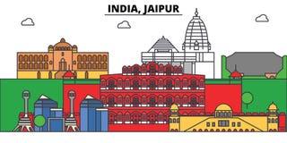 Inde, Jaipur, hindouisme Horizon de ville, architecture, bâtiments, rues, silhouette, paysage, panorama, points de repère illustration de vecteur