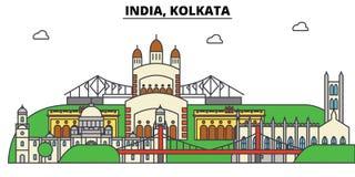 Inde, Kolkata, hindouisme Horizon de ville, architecture, bâtiments, rues, silhouette, paysage, panorama, points de repère illustration stock