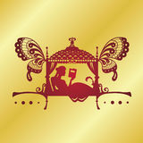 Inde nuptiale de Palanquin silhouette de doli Photo stock