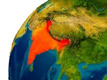 Inde sur le globe Photos stock