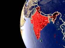 Inde sur le globe de l'espace illustration de vecteur