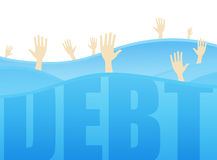 Indebted. Hands requesting help from seas of debt Royalty Free Stock Image