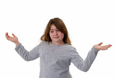 Indecision. Tween girl not able to decide, isolated on white stock images