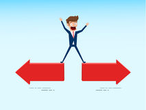 Indecisive businessman chooses right direction way. Concept of confused chooses the right path. Cartoon Vector Illustration Stock Photos