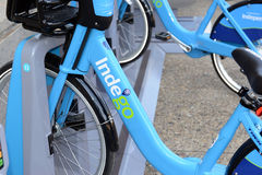 Indego, a Bicycle share program in Philly gives residents and tourists one more transportation option. PHILADELPHIA, PENNSYLVANIA CIRCA SEPTEMBER 2016. Indego, a Royalty Free Stock Photo