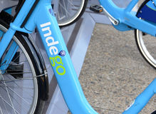 Indego, a Bicycle share program in Philly gives residents and tourists one more transportation option. PHILADELPHIA, PENNSYLVANIA CIRCA SEPTEMBER 2016. Indego, a Stock Photos