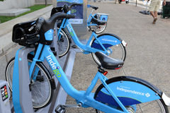 Indego, a Bicycle share program in Philly gives residents and tourists one more transportation option. PHILADELPHIA, PENNSYLVANIA CIRCA SEPTEMBER 2016. Indego, a Stock Image