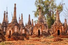 Indein, Inle Lake. Ancient Stupas at Indein, Inle Lake, Myanmar royalty free stock photo