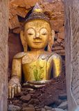 Golden buddha in Indein. stock photos