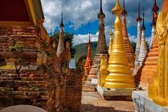 In the cramped Buddhist stupas. Indein pagoda, which houses over 200 stupa, is one of the main attractions on Inle lake in Myanmar stock photo