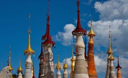 In the cramped Buddhist stupas. Indein pagoda, which houses over 200 stupa, is one of the main attractions on Inle lake in Myanmar stock photos