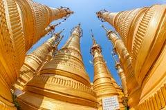 Indein stupas, Inle Lake. Renovated Ancient Stupas at Indein, Inle Lake, Myanmar. Fisheye lens shoot Stock Photo