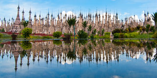 Indein village at the Inle Lake. A huge temple complex close to the Inle Lake in Myanmar reflecting on a fountain. Its called the Indein village Royalty Free Stock Photography