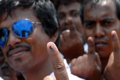 Indelible Ink On My Finger Stock Image