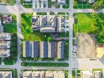 Indelning i underavdelningar för förorts- område för bästa sikt av i stadens centrum Houston, Texas royaltyfria bilder