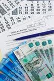 Indemnité de congés payés Calcul de note-le du congé à l'employé et à l'argent Image stock