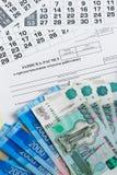 Indemnité de congés payés Calcul de note-le du congé à l'employé et à l'argent Photos stock