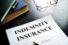 Indemnity insurance policy. Stock Photos