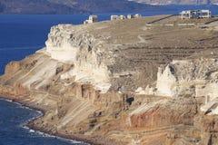 Indented sea coast of Santorini, Greece. Stock Photos