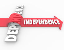 Indepedence Arrow Over Dependent Self-Reliance Determination. Independence word over Dependence to illustrate taking steps to become self-reliant instead of Stock Photo