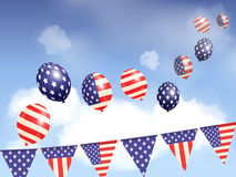 Indepence day balloons and sky Royalty Free Stock Photos