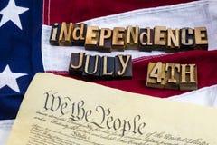 Independência do letterblock do roteiro da constituição Fotografia de Stock Royalty Free