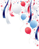 Independence. An illustration of an independence day party background with balloons stars and ribbons in red white and blue Royalty Free Stock Photography