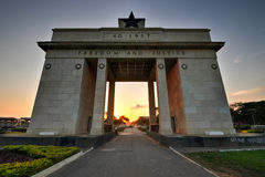 Independence Arch, Accra, Ghana. The Independence Arch of Independence Square of Accra, Ghana at sunset. Inscribed with the words Freedom and Justice, AD 1957 Stock Image