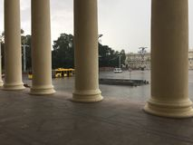Independence Avenue in Minsk from the theater building with columns stock images
