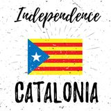 Independence Catalonia lettering typography with stripped flag and burst on a old textured background. Vector Royalty Free Stock Photos