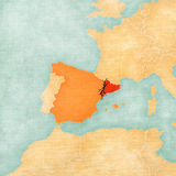 Independence of Catalonia. Map of Spain and Catalonia with black crack. Illustration for a referendum on independence of Catalonia Stock Images
