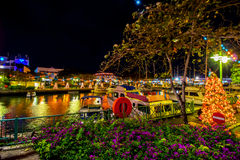 Independence and Christmas lights in Bridgetown, Barbados Stock Image
