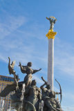 The Independence Column and the Monument of Founders of Kiev. View of the Independence Column and the Monument of Founders of Kiev on the Independence Square ( Royalty Free Stock Photography