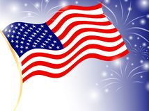 Independence Day. USA flag over dark blue sky with fireworks, EPS10 Royalty Free Stock Photo